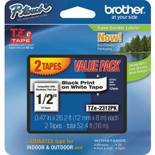 "Brother TZe 2312PK 1/2"" Laminated Tape, Black on White 2 Pack"