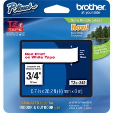 """Brother 18mm (0.7"""") Red on White tape for P-Touch 8m (26.2 ft) - 3/4"""" - White - 1 Each"""