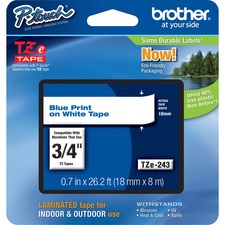 """Brother P-Touch TZe Flat Surface Laminated Tape - 45/64"""" - Thermal Transfer - White, Blue - 1 Each"""