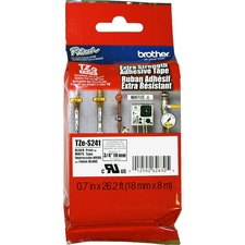 """Brother Extra Strength Adhesive 3/4"""" Lamntd Tapes - 45/64"""" Width - Thermal Transfer - White, Black - Polyethylene - 1 Each"""