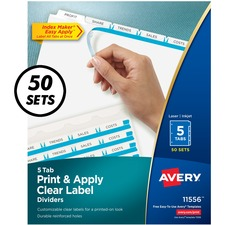 AVE11556 - Avery® Print & Apply Clear Label Dividers, Index Maker(R) Easy Apply(TM) Printable Label Strip, 5 White Tabs, 50 Sets (11556)