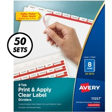 AVE11557 - Avery&reg Index Maker Print & Apply Clear Label Dividers with White Tabs