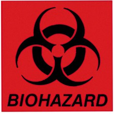 "RCP BP1 Rubbermaid Comm. 6"" Square Biohazard Label RCPBP1"