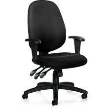 "Offices To Go Multi Function Task Chair - Polyester Black Seat - 5-star Base - 25.5"" Width x 24"" Depth x 39"" Height"
