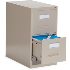 """Global 2600 Vertical File Cabinet - 2-Drawer - 15"""" x 26.6"""" x 29"""" - 2 x Drawer(s) for File - Letter - Vertical - Ball-bearing Suspension, Lockable, Label Holder, Pull Handle - Nevada - Metal"""