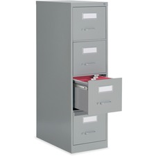 """Global 2600 Vertical File Cabinet - 4-Drawer - 15"""" x 26.6"""" x 52"""" - 4 x Drawer(s) for File - Letter - Vertical - Ball-bearing Suspension, Lockable, Label Holder, Pull Handle - Gray - Metal"""