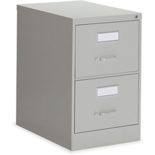 """Global 2600 Vertical File Cabinet - 2-Drawer - 18"""" x 26.6"""" x 29"""" - 2 x Drawer(s) for File - Legal - Vertical - Ball-bearing Suspension, Lockable, Label Holder - Gray - Metal"""