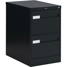 """Global 2600 Plus Vertical File Cabinet - 2-Drawer - 18"""" x 26.6"""" x 29"""" - 2 x Drawer(s) for File - Legal - Vertical - Ball-bearing Suspension, Lockable, Recessed Handle - Black - Metal"""