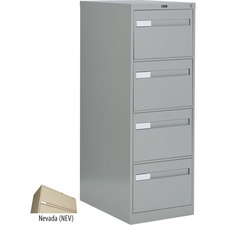 """Global 2600 Plus Vertical File Cabinet - 4-Drawer - 18"""" x 26.6"""" x 52"""" - 4 x Drawer(s) for File - Legal - Vertical - Ball-bearing Suspension, Lockable, Recessed Handle - Nevada - Metal"""