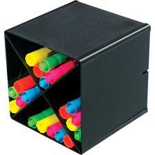"Deflecto X Divider Stackable Cube Organizer - 6"" Height x 6"" Width x 6"" Depth - Desktop - Stackable - Black - 1 Each"