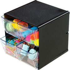 "Deflecto Stackable Cube Organizer - 4 Drawer(s) - 6"" Height x 6"" Width x 6"" Depth - Desktop - Stackable - Black - 1 Each"