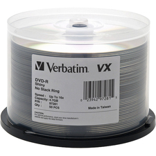 Verbatim DVD-R 4.7GB 16X VX Shiny Silver Silk Screen Printable - 50pk Spindle