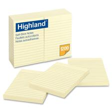 """Highland Ruled Self Adhesive Note Pads - 4"""" x 6"""" - Rectangle - Ruled - Yellow - 12 / Pack"""