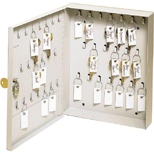 "MMF SteelMaster 20 Key Ring Cabinet - 11.2"" x 8.9"" x 2.4"" - Lockable, Scratch Resistant, Chip Resistant - Platinum - Steel - Recycled"