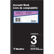 """Blueline Accounting Book - 200 Sheet(s) - 7 7/8"""" x 12 1/2"""" Sheet Size - 3 Columns per Sheet - Black Cover - Recycled - 1 Each"""