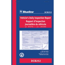 "Blueline Vehicle's Daily Inspection Report - 31 Sheet(s) - 2 Part - Carbonless Copy - 8"" x 5 3/8"" Sheet Size - Blue Cover - 1 Each"