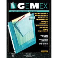 """Gemex PAGEX Top Loading Page Protector - 50 x Sheet Capacity - For Letter 8 1/2"""" x 11"""" Sheet - Polypropylene - 10 / Pack"""