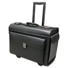 "Holiday NT0803 Carrying Case (Roller) Notebook, File Folder - Black - Leather - Handle - 14"" (355.60 mm) Height x 19"" (482.60 mm) Width x 9"" (228.60 mm) Depth"