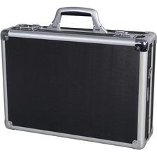 "Nextech Attache Case - External Dimensions: 17.5"" Length x 5"" Width x 8.5"" Depth x 12.5"" Height - Hinged Closure - Aluminum - Black - 1 Each"