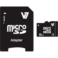 V7 - Flash memory card ( microSDHC to SD adapter included ) - 8 GB - Class 4 - microSDHC