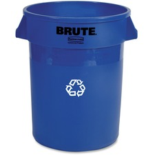 """Rubbermaid Heavy-Duty Recycling Container - 121.13 L Capacity - Round - 27.8"""" Height x 21.9"""" Width x 21.9"""" Diameter - Plastic, Stainless Steel - Blue - 1 Each"""
