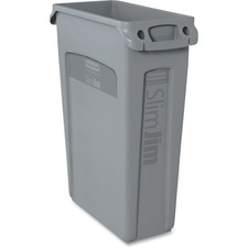"""Rubbermaid Commercial Slim Jim with Venting Channels - 87.06 L Capacity - Rectangular - 30"""" Height x 11"""" Width - Gray"""