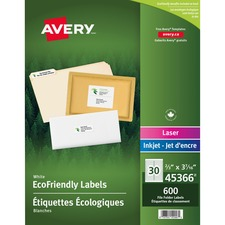 "Avery® EcoFriendly File Folder Label - 3 7/16"" x 2/3"" Length - Rectangle - Laser, Inkjet - White - Paper - 600 / Pack"