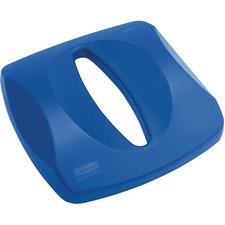 Rubbermaid Untouchable Paper Recycling Top - Square - Plastic - 1 Each - Blue