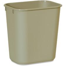 """Rubbermaid 2955 Deskside Small Wastebasket - 12.1"""" Height x 8.3"""" Width x 11.4"""" Depth - Plastic - Beige - 1 Each"""