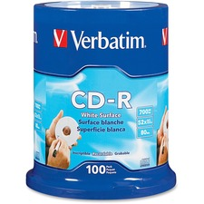 VER 94712 Verbatim Blank White CD-R Printable Disks VER94712
