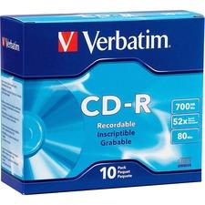 Verbatim DataLifePlus 94760 CD Recordable Media - CD-R - 52x - 700 MB - 10 Pack Slim Case