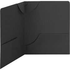 """Smead Lockit Letter Recycled File Pocket - 8 1/2"""" x 11"""" - 50 Sheet Capacity - 2 Internal Pocket(s) - Leatherette - Black - 10% Recycled - 25 / Box"""