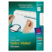 AVE 11426 Avery Index Maker 7-Hole Clear Label Dividers AVE11426