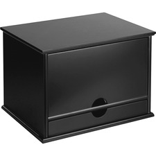 """Victor Midnight Black Collection Wood Desktop Organizer - 4 Compartment(s) - 1 Drawer(s) - 14"""" Height x 10.8"""" Width x 9.8"""" Depth - Desktop - Non-slip, Stackable, Molding Base - Black - Wood, Rubber, Faux Leather - 1 Each"""