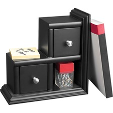Victor Midnight Black Collection Reversible Book End - 2 Drawer(s) - Desktop - Durable, Rubber Feet, Molding Base, Reversible, Sturdy - Black - Wood, Metal - 1 Each