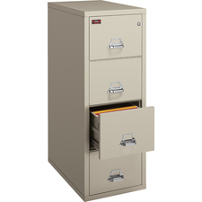 """FireKing 4-2131-C File Cabinet - 4-Drawer - 20.8"""" x 31.6"""" x 52.8"""" - 4 x Drawer(s) for File - Legal - Vertical - Drawer Suspension, Recessed Handle, Key Lock, Fire Proof, Scratch Resistant - Platinum, Chrome - Powder Coated - Steel"""