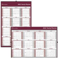 "Blueline Wall Calendar - Yes - Yearly - 1 Year - January 2020 till December 2020 - 1 Year Single Page Layout - 32"" x 48"" - Wall Mountable - Red, Gray - Laminated, Erasable, Holder, Eyelet"