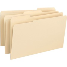 """Business Source 1/3 Tab Cut Legal Recycled Top Tab File Folder - 8 1/2"""" x 14"""" - 3/4"""" Expansion - Top Tab Location - Assorted Position Tab Position - Manila - 10% - 50 / Box"""