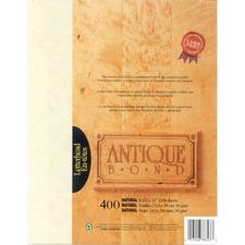 "First Base Antique Bond 78223 Inkjet, Laser Bond Paper - Natural - Recycled - 30% - Letter - 8 1/2"" x 11"" - 24 lb Basis Weight - Textured - 400 / Pack"