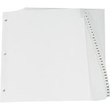 "Oxford Premium Preprinted Tab Divider - Printed Tab(s) - Digit - 1-31 - 8.50"" Divider Width x 11"" Divider Length - Letter - White Fiber Divider - Plastic Tab(s) - 25 / Set"