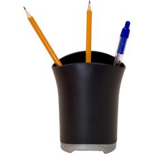 """Storex Pencil Cup - 4.25"""" (107.95 mm) x 3.50"""" (88.90 mm) x 3.25"""" (82.55 mm) x - Plastic - 1 Each - Black"""