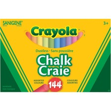 Crayola Dustless Chalk Stick - Assorted - 144 / Box