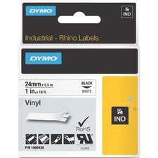 """Dymo Black on White Color Coded Label - 1"""" Width - Permanent Adhesive - Thermal Transfer - White - Vinyl - 1 Each"""