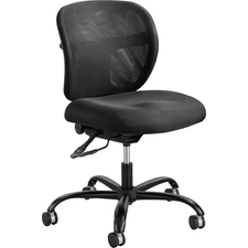 "Safco Vue Intensive Use Mesh Task Chair - Polyester Seat - Nylon Back - 5-star Base - Black - 20.5"" Seat Width x 20"" Seat Depth - 26"" Width x 26"" Depth x 38"" Height"