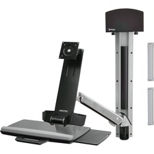 Ergotron StyleView Sit-Stand Combo System With Small Black CPU Holder