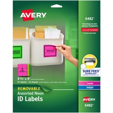 AVE6482 - Avery® Neon Rectangular Labels for Laser and/or Inkjet Printers