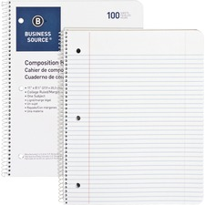 """Business Source Wirebound College Ruled Notebooks - Letter - 100 Sheets - Wire Bound - 16 lb Basis Weight - 8 1/2"""" x 11"""" - White Paper - Stiff-back - 1Each"""