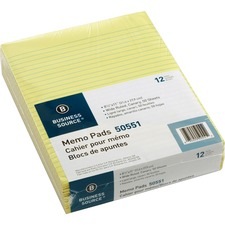 """Business Source Glued Top Ruled Memo Pads - Letter - 50 Sheets - Glue - 16 lb Basis Weight - 8 1/2"""" x 11"""" - Canary Paper"""