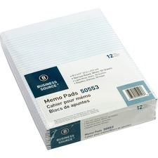 "Business Source Memorandum Pad - 50 Sheet - 16lb - Narrow Ruled - Letter 8.5"" x 11\"" - 12 / Dozen - White Media"