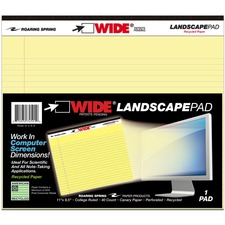 ROA 74501 Roaring Spring Wide Landscape Canary Writing Pads ROA74501